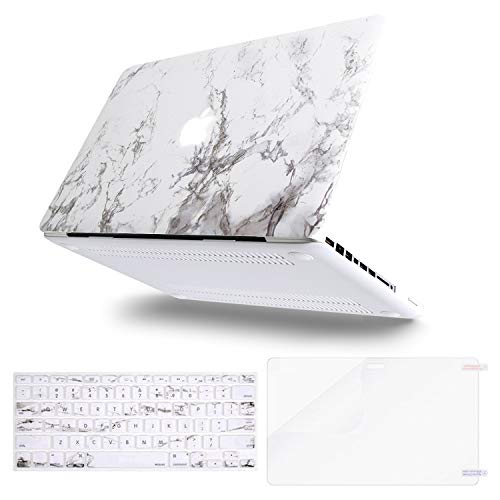 MOSISO Kunststoffmuster Hard Case & Tastatur Cover & Screen Protector Altes MacBook Pro 13 Zoll (A1278), Weißer Marmor Hard Case Cover Screen