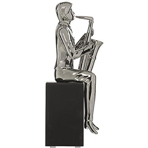 DonRegaloWeb–Figur eines Musiker spielt ein Saxophon sitzen auf Ständer aus