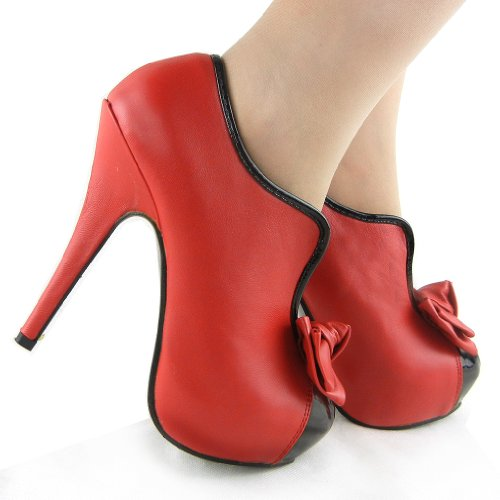 Show Story jahrgang zwei ton bogen Platform Stiletto hohe Heel kn?chel stiefel,LF30427 Rot