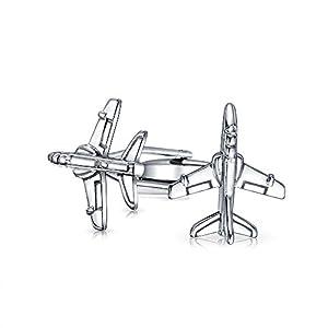 Bling Jewelry Herren Pilot Militärischen Jet Flugzeug Shirt Manschettenknöpfe Für Herren Scharnier Zurück Edelstahl