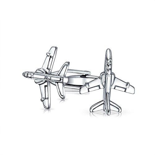 Bling Jewelry Pilote Avion À Réaction Militaire Chemise Boutons De Manchette pour Homme Charnière en Acier Inoxydable Ton Argenté