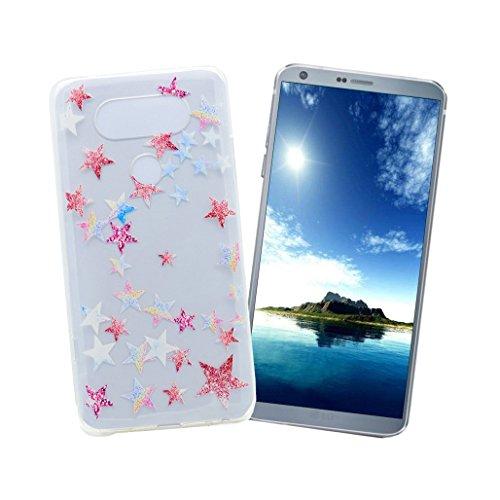 Hülle für LG G6 XiDe Ultra Dünne Leichtgewicht Etui Flexible TPU Silikon Schale Weiche Transparente Schutzhülle Glatte Schlanke Tasche Stoßfeste Kratzfeste Staubdichte Handytasche Bunte Design Muster Handyhülle für LG G6 - Glänzende Sterne