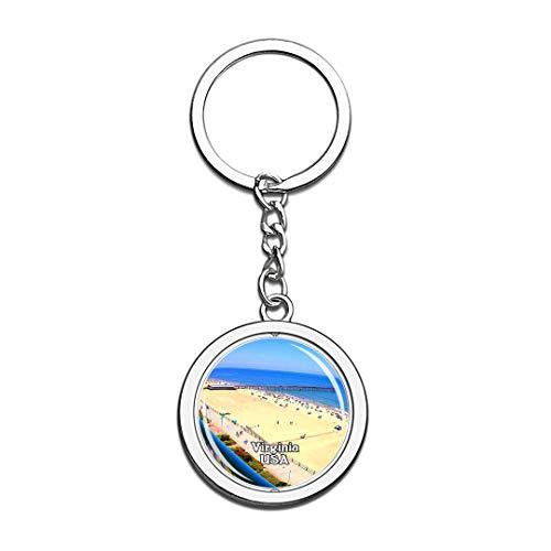 en Schlüsselbund Virginia Beach Boardwalk Schlüsselbund 3D Kristall Drehen Rostfreier Stahl Schlüsselbund Touristische Stadt Andenken Schlüsselanhänger ()