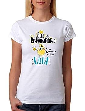 MardeTé Camiseta Bebe con Responsabilidad no derrames ni una Gota. Divertida Camiseta de Regalo para Amigas borrachas