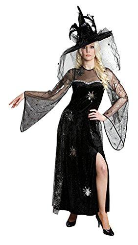 Halloween Spinnenfrau,Schwarzes Kleid in Samtoptik mit Seitenschlitz, Spinnenapplikationen, transparenten Trompetenärmeln und passendem Überrock aus bedrucktem Tüll. (42)