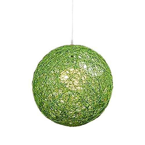 Oevina Mode Kreative Runde Pendelleuchte, E27 Gras Reben Moderne Einfache Dekoration Esszimmer Hängen Licht für Flur Balkon Schlafzimmer pendelleuchte (Farbe : Grün, größe : 40 cm) -