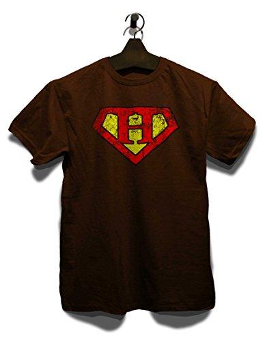 H Buchstabe Logo Vintage T-Shirt Braun