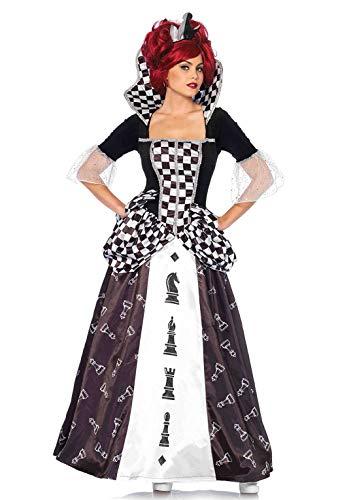 LEG AVENUE 85572 - Kostüm Set Wunderland Schach-Königin, Damen Fasching, L, Schwarz/weiß (Schach Königin Kostüm)