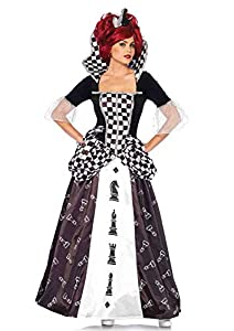 Leg Avenue-Black/White Wonderland Chess Queen Fancy Dress Costume UK 10-12, 2-Piece Mujer, color negro blanco, Medium (EUR 38-40) (85572)