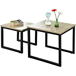 SoBuy FBT42-N Tables Basses Gigognes - Set de 2 - Lot de 2 Tables d'appoint empilables