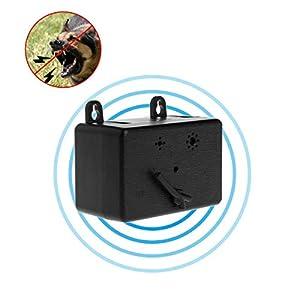 Mallalah Dispositifs Anti-aboiement Chien à Ultrason Maisonnette Extérieur Ultrasonique sans Collier Aucun Danger Les Animaux Installation Facile à Jardin Usine (A)