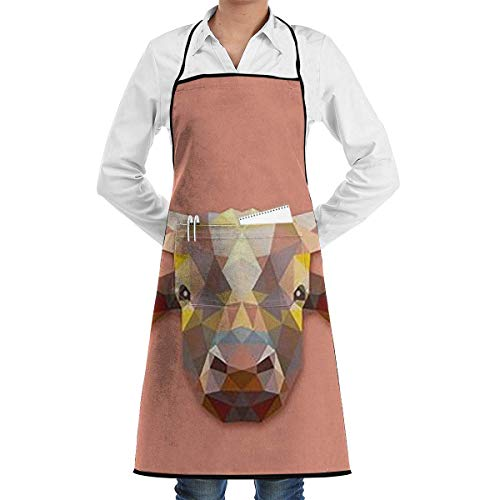 Drempad Schürzen Bull Art Bib Apron Chef Apron - with Pockets for Male and Female,Waterproof, Resistant to Droplets, Durable, Machine Washable, Comfortable, Easy Care Apron (Easy Star Wars Kostüm)