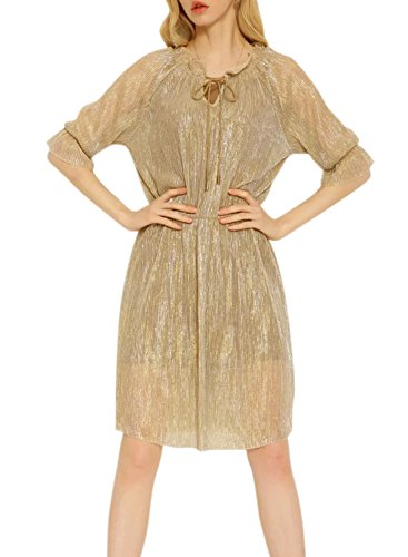 Azbro Women's Elegant Half Sleeve Solid Midi Dress gold