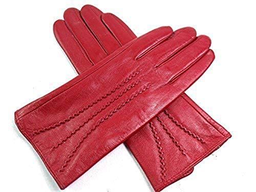 dc90ddbc4cfe3 Damen Premium Qualität super weich Leder Handschuhe Kunstpelz Futter  Streifen-Detail enge Passform - Rot