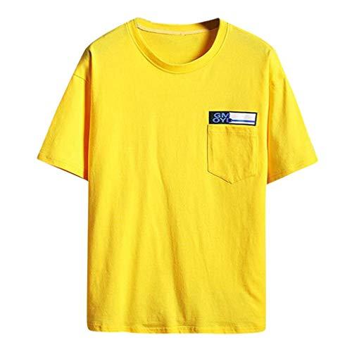 Lazzboy Uomo T-Shirt Top Stampare/Tinta Unita/Patchwork Plus Size Simple Style Summer Manica Corta Oversize Top Maschile(4XL,Giallo-Tasca)