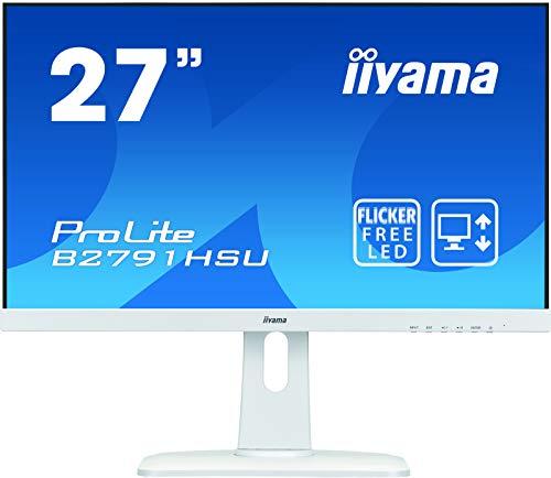 iiyama ProLite B2791HSU-W1 68,6cm (27 Zoll) LED-Monitor Full-HD (VGA, HDMI, DisplayPort, USB2.0, Höhenverstellung, Pivot) weiß