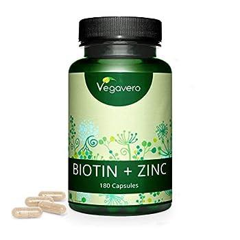 Biotina Vegavero® | 10.000 mcg con ZINC | Vegana & La Única Sin Aditivos | Caída del Cabello + Crecimiento + Anticaída | Piel + Uñas + Barba | 180 Cápsulas
