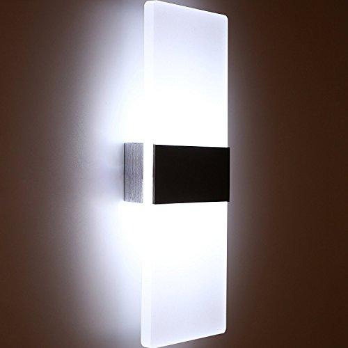 Glighone Aplique de pared Lámpara Moderno LED 12W Lámpara de Pared Luz de Puro Aluminio para Decoración del Hogar Pared Dormitorio Pasillo Entrada, Blanco Frío