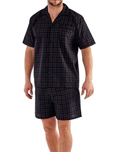 Herren Sommer Pyjama Set Kurzärmlig Oben & Kurze Hose MN100 Check