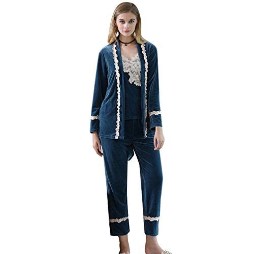 YiLianDa 3 Pezzi Sexy Pigiama Cardigan Intimo Femminile Floreale+Pantaloni Set Biancheria Intima Blu