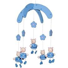 Bieco 23-002081 - Mobile 3D, Bären, hellblau, aus Holz