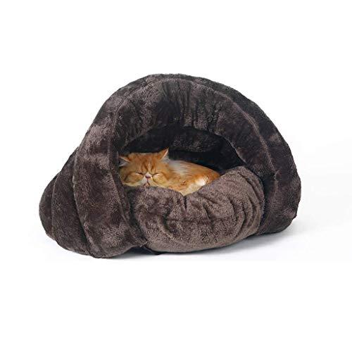 LKMAG Traduttore Zona Cuddle Cave Pet da Letto for i Cani e Gatti Comodo Durevole Mantenere Caldo in Inverno (Brown)