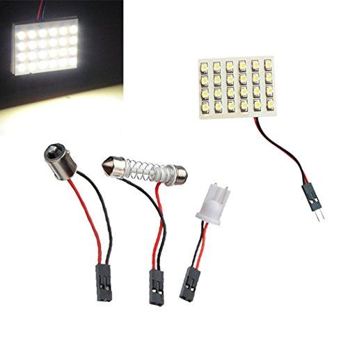 2x Blanc Pure PANNEAU 1210 SMD 24 LED ADAPTATEUR T10 W5W Ba9s / C5w NAVETTE Ampoule 12V auto voiture interieure lumiere tableau de bord 6000K