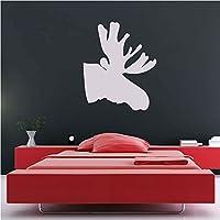 Moose Silhouette Wall Sticker animale Adesivo Art disponibile in 5 dimensioni e 25 colori Medio Bianco