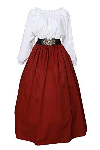 Damen mittelalterliche viktorianischen Schulter Vintage Kleid Königin Kostüm Top und Rock (Victorian Lady Kostüme Perücke)