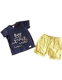 Conjunto bebe - tee shirt y short - Azul y amarillo - 3 a 24 meses
