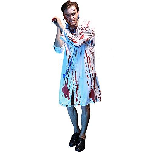 (Europäische und amerikanische Halloween-Maskerade-Party-Kleidung Blutiger Horror-männlicher Doktor COS Clothing With Stethoscope)