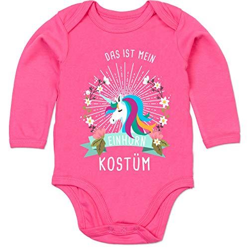 Shirtracer Karneval und Fasching Baby - Das ist Mein Einhorn Kostüm Blumenkranz - 3-6 Monate - Fuchsia - BZ30 - Baby Body Langarm