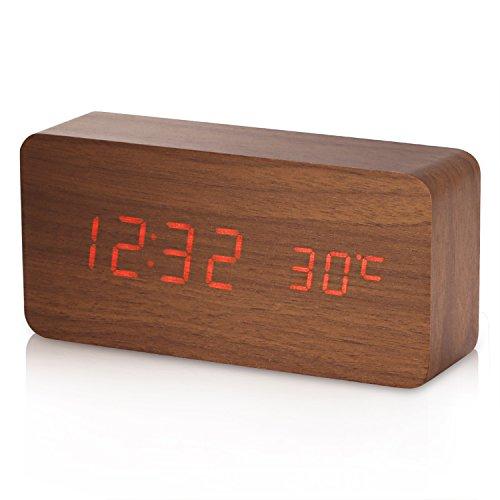 Reloj Digital Yokkao®, Reloj Despertador con 3 Alarmas Programables y con Indicador de Temperatura y Sensor de Sonido Diseño Estilo Madera