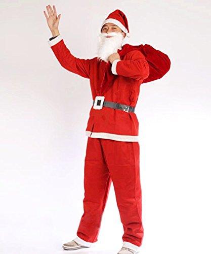 Kostüm Weihnachtsmann Komplette - OUTAD Weihnachtsmann Kostüm Weihnachtskostüm Nikolauskostüm komplett mit Bart & Sack Santa Claus Kostüm für Geschenk Herren Damen Kinder Jungen (XXXL)