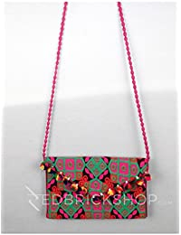 Red Brick Shop Square Geometric Pompom Pink Kutchi Sling Bag For Girls And Women GJV0033BG943AOS17