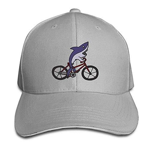 Gorgeous ornaments Men's Women's Shark Riding Bicycle Cotton Adjustable Peaked Baseball Cap Adult Sandwich Hat -