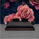 Guyuell Benutzerdefinierte Wandbild Schöne Handgemalte Rose Tv Hintergrundbild Rosa Rosen Große Blume Wallpaper Hotel Wallpaper-200Cmx140Cm