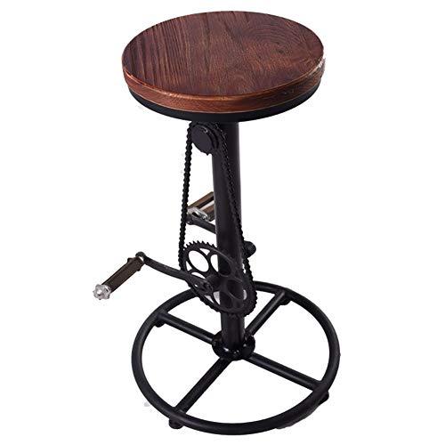 ZHEDAN Massivholz-Barhocker, drehbarer Fahrrad-Freizeitstuhl, hoher Hocker, Küchenthekenstühle, Industriestil -
