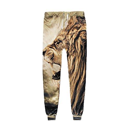 Paolian Pantalon décontracté imprimé 8D pour Homme,Motif de Lion Pantalons de survêtement élégants et Confortables