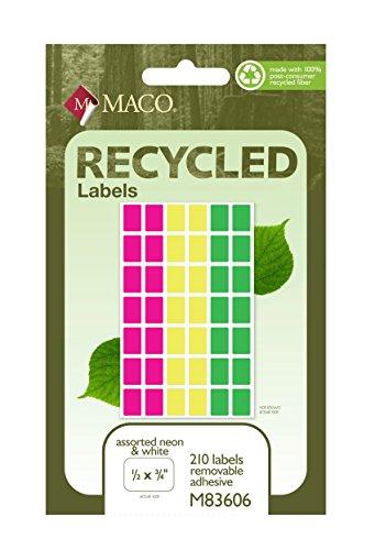 Material reciclado neón surtidos codificación de Color etiquetas, 1/2x 3/4pulgadas, 210labels por caja (m83606)
