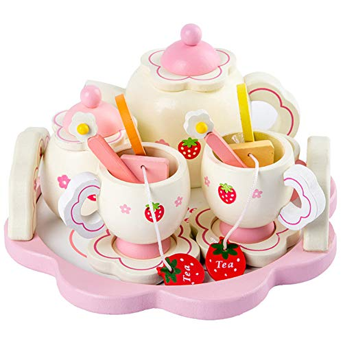 XuBa Kids Girls Simulate Wooden Pink Tea Set Play House Educational Toy Christmas for kids