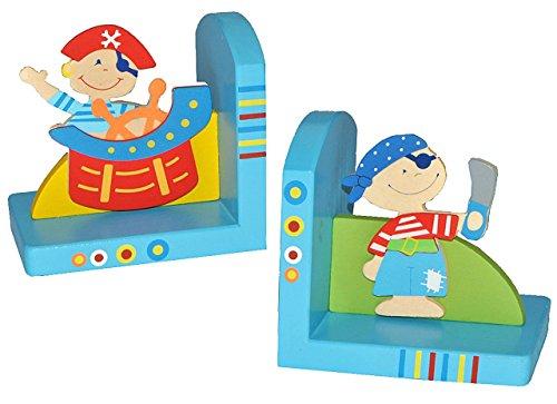 2 tlg. Set Buchstützen Holz Pirat – Bücherstützen Piraten Buchstütze Holzbuchstütze für Kinder Seefahrer Jungen
