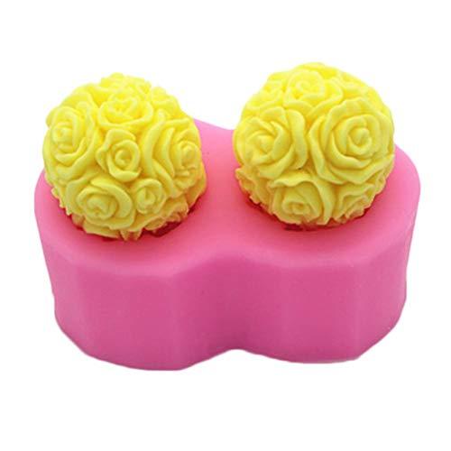 luckything 3D Silikonform Rose Balls DIY Handcrafts Backwerkzeug für die Herstellung von Kuchen Aroma Kerze Gips Dekorieren (Drücken Kuchen Dekorieren)