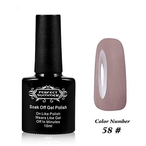 Perfect Summer 10ml Vernis à Ongles Gel Semi Permanent UV LED Gel Polish Soak Off pour Nail Art Manucures #58