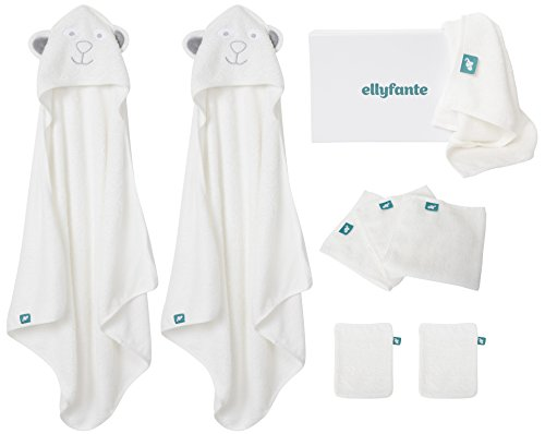 Premium Baby Bathing Gift Set by Ellyfante | 9-Piece | Large Bamboo Baby Washcloths (x5), Bamboo Baby Hooded Towels (x2), and Bamboo Mitts (x2) | Natural Bamboo Baby Hooded Bath Towels Set | EBAM005