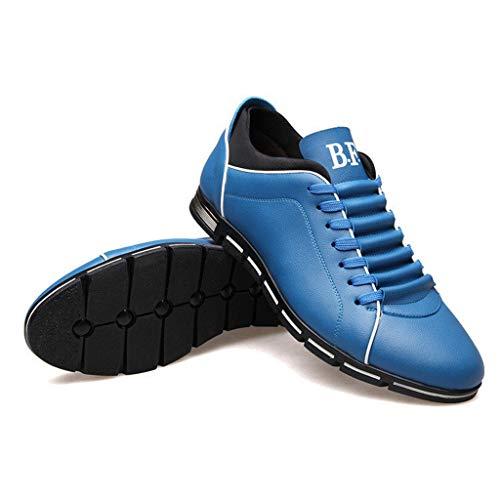 NnuoeN☀ Uomo Moda Solid Leather Business Sport Punta Tonda Piatta Scarpe Morbide Casual Scarpe Oxford da Passeggio