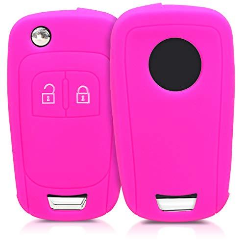 kwmobile Autoschlüssel Hülle für Opel - Silikon Schutzhülle Schlüsselhülle Cover für Opel Chevrolet 2-Tasten Klapp Autoschlüssel Pink