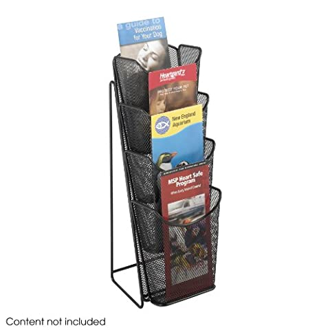 Safco Onyx Mesh Counter Display with 4x 1/3 A4 Pockets - Black