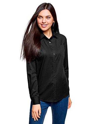 oodji Ultra Mujer Camisa Básica con un Bolsillo, Negro, ES 40 / M