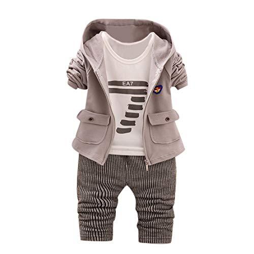 Happy Event Neugeborenen Baby Boy Boy Brief Hoodie Tops Hosen Mantel Kleidung Sets Outfits Mantel + T-Shirt + Hosen (6-12 Monate-80, Grau) -